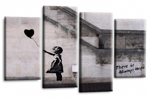 Banksy Canvas Wall Art Picture Print Art Black Balloon Girl Hope